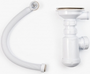 Сифон для кухонной мойки одинарный с круглым переливом и винтом